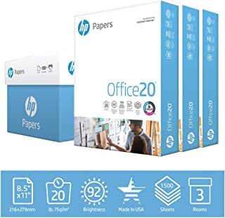 HP Printer Paper 8.5x11 Office 20 lb 3 Ream Case 1500 Sheets 92 Bright Made in USA FSC Certified Copy Paper HP Compatible ...