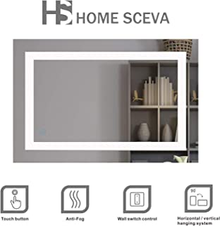 Home SCEVA LED Lighted Mirrors Vanity Bathroom Frameless Backlit Wall Mirror Anti Fog Touch Button 35.4 x 23.6 in