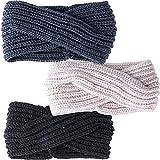 3pcs Diademas Mujer Lana Banda Pelo Cabeza Turbante Anchas Elástico Invierno(Negro, Gris Oscuro, Beige)