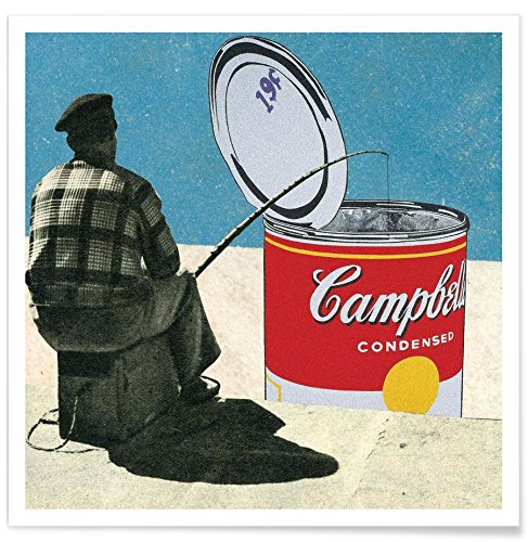 "Juniqe® Retro Poster 50x50cm - Design ""Fishing for Warhol"" entworfen von Sammy Slabbinck"