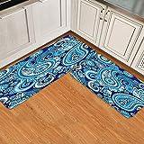 GugeABC Juegos de alfombras de Cocina 2pcs,Mandala Bohemia India Azul Remolino Abstracto,Alfombrilla Suave Lavable Antideslizante para baño de Entrada de Cocina