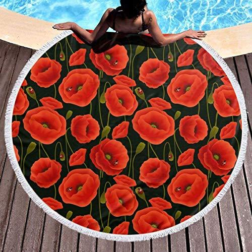 Rundes Strandtuch, Mohnblumen Hippie Happy Youth Handtuch Extra große sandfeste Decke Yogamatte mit Quasten 59 '