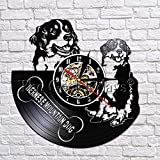 GVC Reloj de Pared Bernese Mountain Dog Suiza Mountain Dog Vinyl Record 3D Wall Clock Creative Walll Decoration