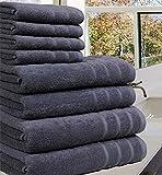 Casabella Luxury 100% Egyptian Cotton Towel Bale - 8 Pieces - 550 Gsm Xlarge Sizes_Grey_8 Pieces Set