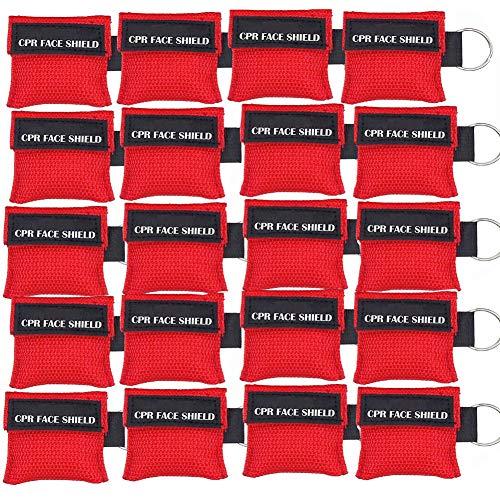 Packung mit 20 Stück rot CPR-Maske Schlüsselbund Keyring Emergency Kit CPR-Gesichtsschutz für Erste-Hilfe- oder CPR-Training (Red-20)