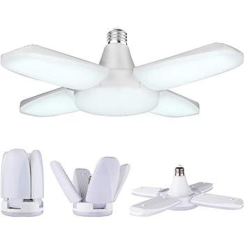 Yiizon LED Garage Light, E26 6500K 48W 4000Lm Deformable Shop lamp with 4 Adjustable Panels, LED Ceiling Light for Garage, Workshop, Basement, Warehouse, Gym, Kitchen 1 Pack