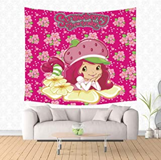 zhj888 Cute Strawberry Shortcake Girl Tapestry Hippie Home Decor Wall Hanging Tapestry Beach Yoga Mat Bed Cover Tablecloth200X150Cm
