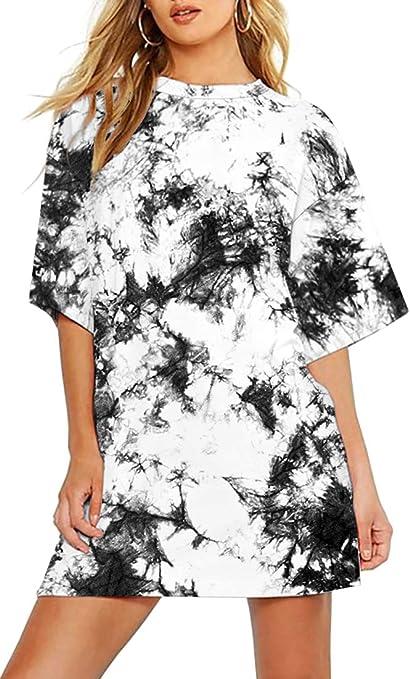 OLIPHEE Tie-Dye Camiseta Mujer Oversize Talla Grande Manga Corta Anchas Largas Tops Camisa Casual Suelta Larga Blusas T-Shirt