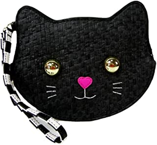 New Betsey Johnson Logo Coin Purse Wallet Wristlet Pouch Woven Clutch Bag Cat