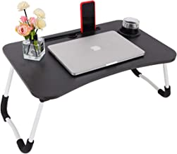 pgooodp Lap Table Laptop Desk Lap Tray for Kids Adults, pgooodp Bed Tray, Foldable Breakfast Table, with Cup Groove and Mobile Phone Slot, Wood, Black