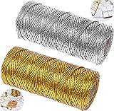 YIYICO Cordon Dorado Cordón Metálico Hilo Dorado 2 Rollos 100m Hilo de Oropel para Hacer Manualidades Envolver Regalos o Decoración de Árbol de Navidad Etiquetas de Regalo (dorado y plata)