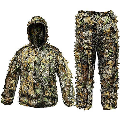 Ghillie Suit Camouflage Hunting Suits Outdoor 3D Leaf Lifelike Camo Clothing Lightweight Breathable Hooded Apparel Suit for Jungle Shooting Airsoft Woodland Photography (Fit tall 5.9-6.2ft)