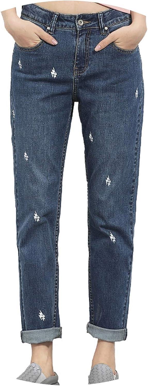 DATAIYANG 2019 Spring and Summer Plus Size Lightening Printed Mid Waist Full Length Fashion Loose Denim Boyfriend Women Jeans
