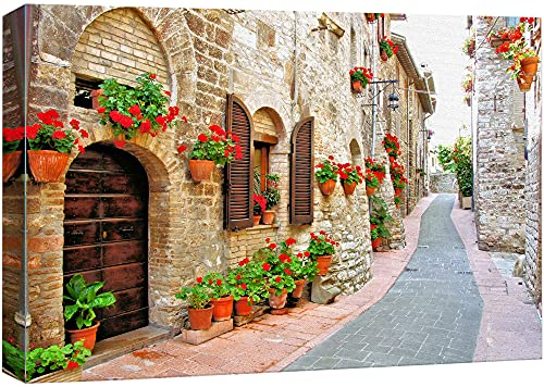 """Beautiful Scenery Landscape of Picturesque Lane with Flowers in an Italian Hill Town - Canvas Art Wall Decor - 16"""" x 24"""""""