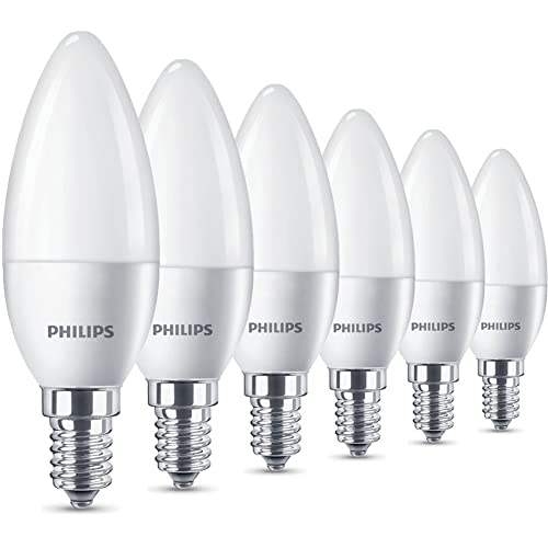 Philips LED Pack de 6 bombillas Vela E14, 5.5 W, luz blanca