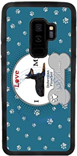 BleuReign(TM) Personalized Custom Name I Love My Dog Doberman Pinscher TPU Rubber Silicone Phone Case Back Cover for Samsung Galaxy S9 Plus