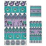 Pixiuxiu - Juego de 3 toallas de algodón altamente absorbentes, de secado rápido, diseño tribal bohemio, de elefante, toalla de baño, juego de toallas de mano para uso diario