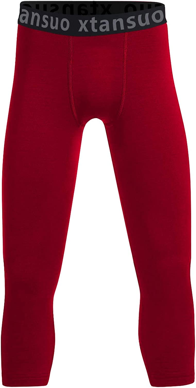 Xtansuo Youth Boys' Compression Pants Basketball Tights Sports Leggings Athletic Base Layer for Soccer Training Running