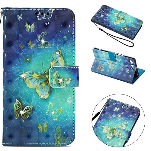 Sony Xperia XZ Premium Case, Shockproof 3D Handmade Bling Sparkly Diamonds PU Leather Flip Wallet Phone Case with Magnetic Card Holder Slot Silicon Back Cover for Sony Xperia XZ Premium Gold Butterfly