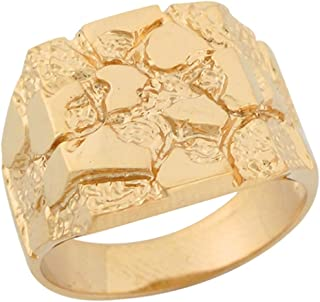 Jewelry Liquidation 10k Solid Yellow Gold Square Cut Shining Beautiful Unisex Nugget Ring