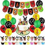 Decoraciones para fiesta de cumpleaños de Bing Globos Bing Bunny Banner de feliz cumpleaños Bunny Cake Toppers Bing Bunny Colgante Remolino Suministros para fiestas Decoraciones