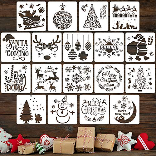 18 Pieces Reusable Plastic Craft Xmas Painting Stencils for Journal Template, Wood, Rocks and Walls Art, Card DIY Projects