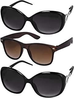 3647c9935251 Younky Wayfarer Women's Sunglasses (55, Black) -Combo Pack of 3 Sunglass