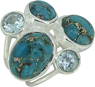 YoTreasure 925-Sterling Sterling-Silver Oval-Shape Round-Shape Turquoise