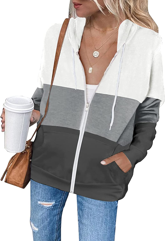 FARYSAYS Women's Casual Zip Up Lightwe Max 54% OFF Sleeve Long Jacket Hoodie Jacksonville Mall