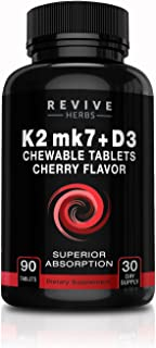 Vitamin K2 D3 - Cherry Flavored Chewable Tablets for Superior Calcium Absorption - Supports Bone & Cardiovascular Health -...