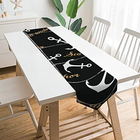Table Runner With Tassels Sea Nautical Anchor Dining Table Flag For Home Kitchen Party Wedding Decorations 70 1x12 9inch Home Kitchen