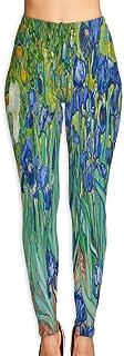 Cyloten Oil Painting Irises Flowers Yoga Pants Vivid Printed Women's Non-Fading Sportswear High Elastic Leggings