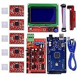 iHaospace - Kit controller stampante 3D per RAMPS 1.4 + Mega 2560 R3 + controller display LCD 12864 + driver stepper A4988 con dispositivo di riscaldamento per stampante Arduino Reprap