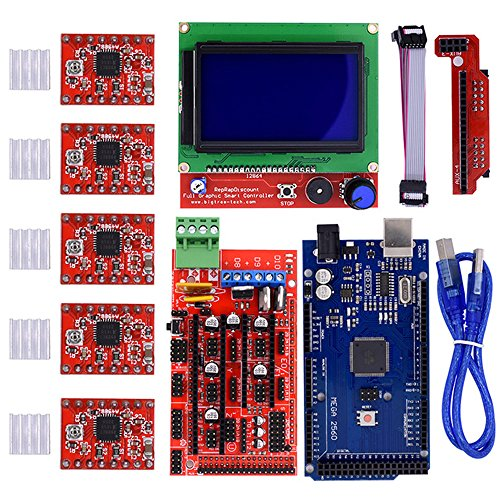 iHaospace 3D Printer Controller Kit for RAMPS 1.4 + Mega 2560 R3 + LCD 12864 Display Controller + 5pcs A4988 Stepper Motor Driver with Heatsink use for Arduino Reprap