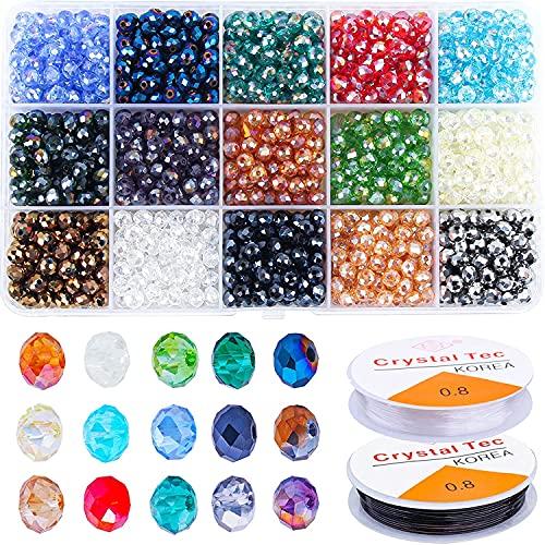 Candygirl 1500Pièces 6 mm Perles Cristal Bricolage AB Perles Verre Facette DIY Kit Fabrication Perle Bijoux Bracelets Colliers avec 2 Rouleaux Fil élastique