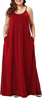 Lalagen Womens Plus Size Casual Strap Plain Loose Long Maxi Dress with Pocket