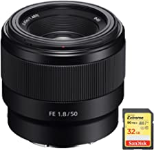 Sony FE 50mm F1.8 Full-Frame Prime E-Mount Lens with Sandisk 32GB Extreme SD Memory UHS-I Card