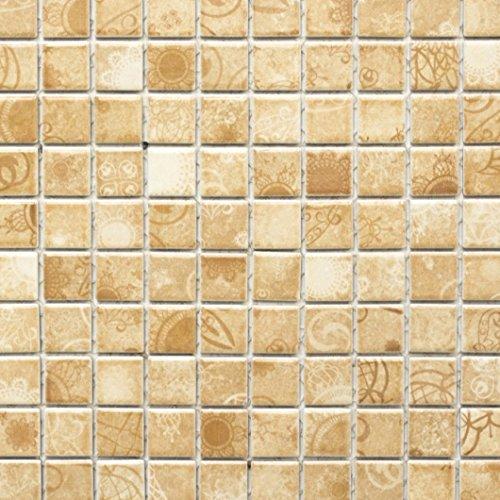 Retro Vintage Mosaik Fliese Keramik beige Laceo beige WB18D-1412 für BODEN WAND BAD WC DUSCHE KÜCHE FLIESENSPIEGEL THEKENVERKLEIDUNG BADEWANNENVERKLEIDUNG
