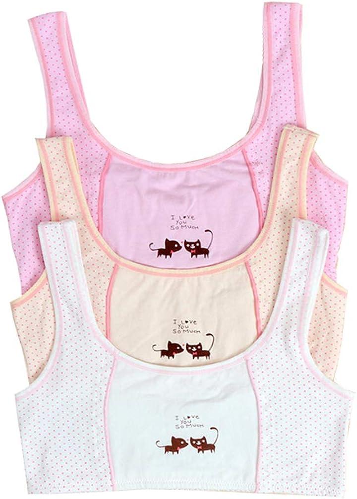 Age 10-16 Teen Girls Non Padded Training Bra 100 Cotton Polka Dot Bralette Set