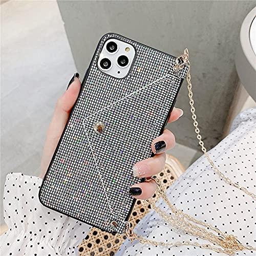 Fashion Lanyard Wallet Phone Case para iPhone 12 Pro 11 XS MAX XR X 7 8 Plus Glitter Bling Rhinestone Crossbody Chain Bag Cover, T1, para iPhone 6 6s