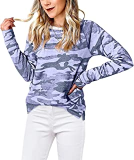 Camo Tunic Tops for Women Lightweight Soft T Shirts Long Sleeve Sweatshirts Round Neck Pullover Casual Fall Blouse XS-XXL