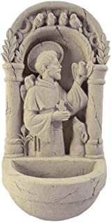 Saint Francis American-Made Cast Stone Outdoor Wall Plaque with Water Basin/Bird Feeder