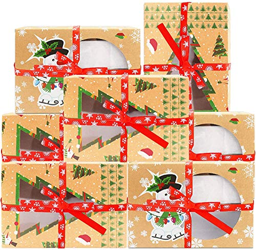Zsroot Weihnachts Plätzchen Boxen,Geschenk Boxen,Weihnachten DIY Geschenk Boxen für Weihnachten Party (12 Stück)