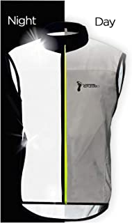 ReflecToes Reflective Windbreaker Vest for Running and Cycling. Durable Mens Jacket Designed with Intelligent Stretch Fabric and BioMotion Technology for Maximum Visibility