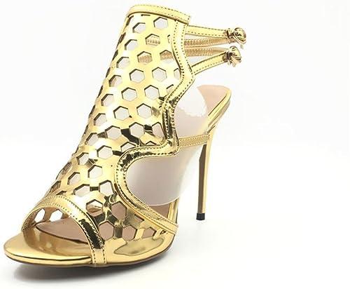 HN zapatos mujeres Mirar furtivamente Dedo del pie Estilete oro Alto Tacón Sandalias zapatos Fiesta Paseo Nupcial Noche tamaño