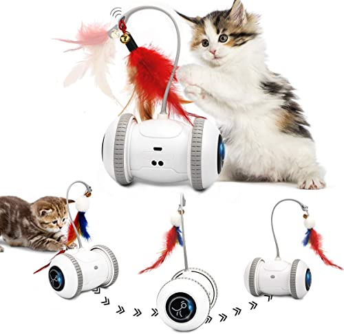 Nueplay Cat Toys Robotic Interactive Indoor Electronic Toys with LED Light 360 Degree Rotation Sensor Mode Freestyle ...