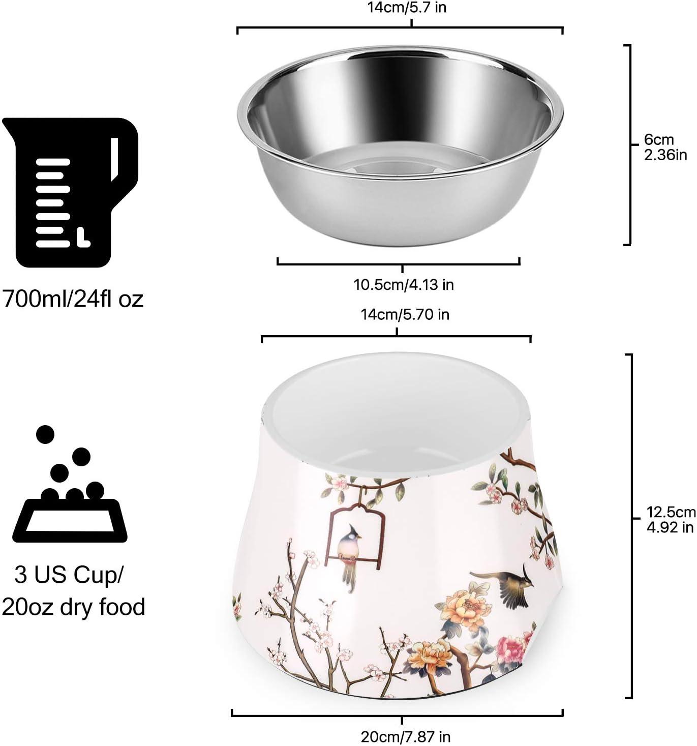 Flexzion Mangiatoia per Cani Gatti in Acciaio Elevato 24 FL Oz Piatto per Animali Domestici Sollevato Alimentazione Supporto Ciotola Rialzata Acqua Rimovibile Antiscivolo Gomma Taglia Media Bianco