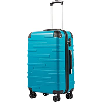 COOLIFE Expandable Suitcase(Only L Size Expandable) Hard Shell Luggage with TSA Lock and 4 Spinner Wheels Lightweight 2 Year Warranty Durable (Lake Blue, L(77cm 93L))