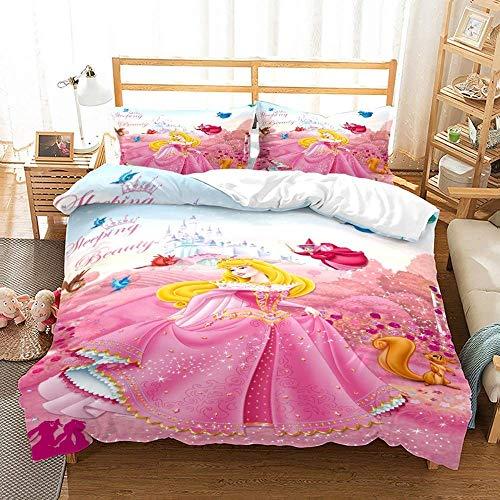 JXSMYT Juego de ropa de cama 3D para niños, diseño de princesas Disney, funda de almohada, 135 x 200 cm, suave poliéster (BXGZ-9,155 x 220 cm + 1 x 80 x 80 cm)