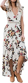 Backless Maxi Dresses for Women V Neck Floral Dress Sexy Lace Asymmertrical